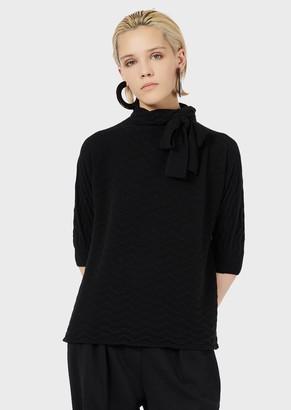 Emporio Armani Pure Cashmere Mock-Neck Sweater With Chevron Motif And Bow