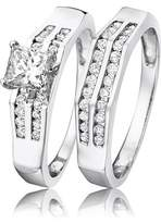 My Trio Rings 1 1/4 CT. T.W. Princess Cut Diamond Solitaire Bridal Ring Set 14K White Gold