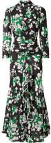 RIXO London - Lucy Ruffled Floral-print Silk Crepe De Chine Midi Dress - Black