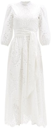 Borgo de Nor Constance Broderie-angalise Belted Midi Dress - White
