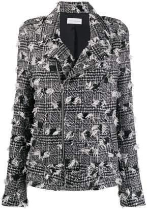 Faith Connexion houndstooth pattern biker jacket