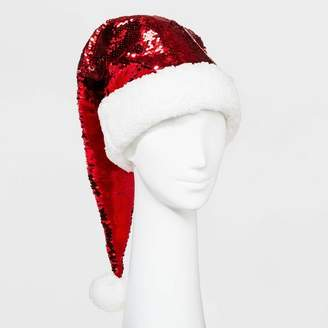 Ugly Stuff Holiday Supply Co. Women's Reverse Sequin Santa Sleep Cap - Red/Silver - One Size