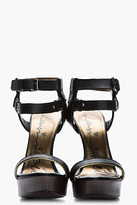 Lanvin Black and gold leather sculpted-heel Sandals