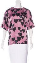 Lanvin Silk Heart Print Top