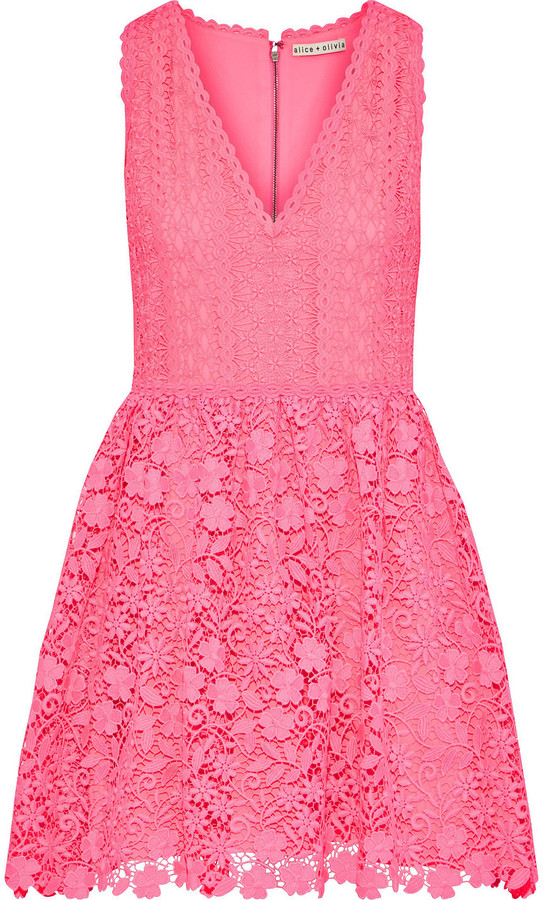 Alice + Olivia Iris Flared Guipure Lace Mini Dress
