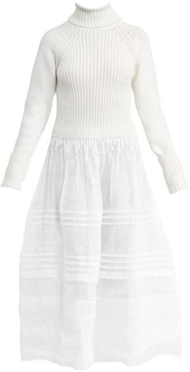 Loewe Wool Rib-Knit & Organdy Sheer Midi Dress