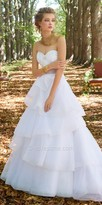 Camille La Vie Strapless Beaded Organza Tiered Wedding Dress