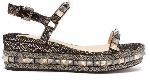 Christian Louboutin Pyraclou 60 Leather Flatform Sandals - Womens - Black Gold