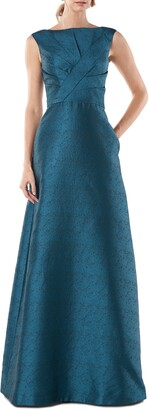 Kay Unger Pleat Bodice Jacquard Ballgown