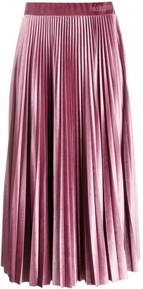 Valentino Soft Pink Pleated Midi Skirt