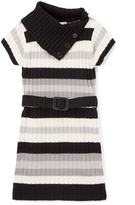 Pink Angel Black Stripe Belted Split-Neck Dress - Infant Toddler & Girls
