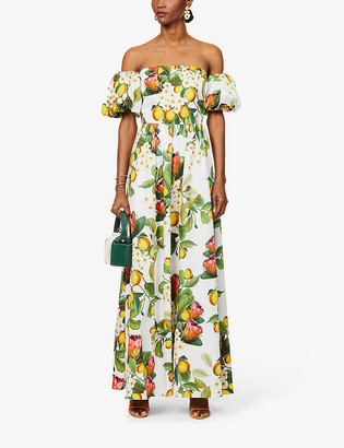Borgo de Nor Citrus-print off-shoulder cotton maxi dress