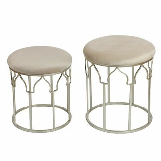 Mercer41 Balfour Round Stackable Velvet Upholstered 2 Piece Vanity Stool Set