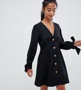 Asos DESIGN Petite button through mini skater dress with tie sleeves