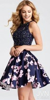 JVN by Jovani Sparkling Two Piece Floral Printed Fit and Flare Homecoming Dress