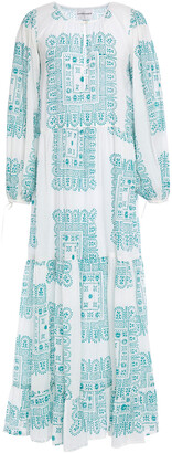 Antik Batik Nalii Gathered Printed Cotton-voile Maxi Dress