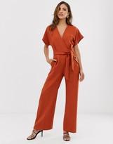 Closet London wrap front tie waist jumpsuit in rust