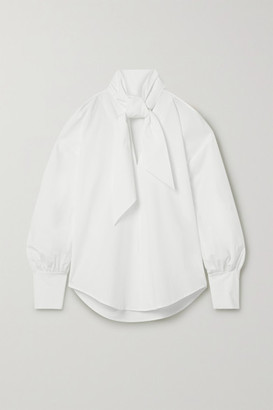 Silvia Tcherassi Gemma Pussy-bow Cutout Cotton-poplin Blouse - White