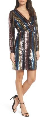 Sam Edelman Rainbow Sequin Faux Wrap Dress