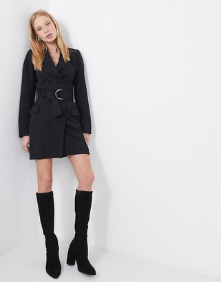 And other stories & tie waist blazer dress in black