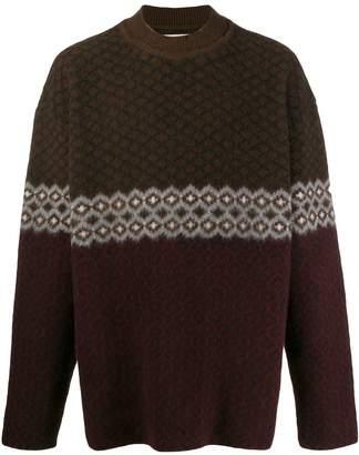 Jil Sander quilted pattern crew neck jumper