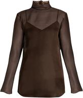 Nina Ricci Fluted-neck silk-organza blouse