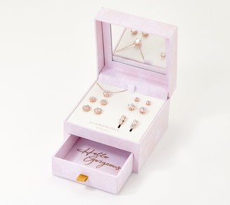 Diamonique Set of 6 Essentials with Jewelry Box, Sterling Silver