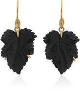 Annette Ferdinandsen Fancy Leaf 18K Gold Black Onyx Earrings