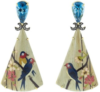 Silvia Furmanovich 18kt yellow gold diamond Marquetry Bird Triangle earrings