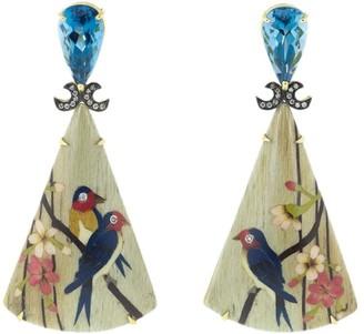 Silvia Furmanovich 18kt yellow gold diamond Marquetry Bird Triangle earrings