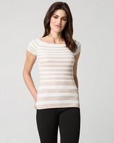 Le Château Stripe Viscose Blend Rib Sweater