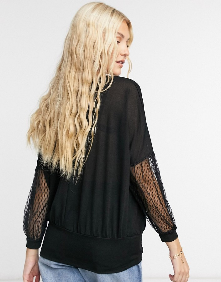 Thumbnail for your product : Qed London top with dotted mesh sleeves in black