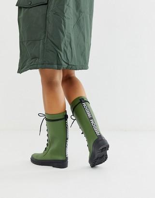 Asos Design DESIGN Ground chunky lace up rain boot in khaki-Green