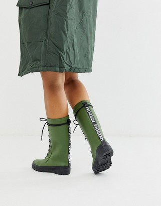ASOS DESIGN Ground chunky lace up rain boot in khaki