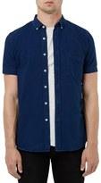 Topman Slim Fit Denim Short Sleeve Shirt