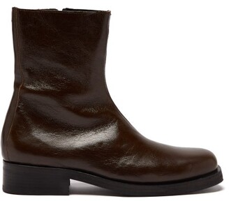Our Legacy Camion Zipped Crinkled-leather Boots - Mens - Green