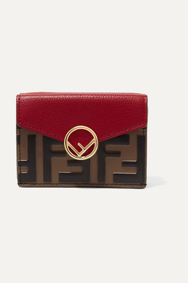 Fendi Embellished Embossed Leather Wallet - Red