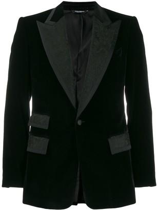 Dolce & Gabbana Jacquard Panels Single-Breasted Blazer
