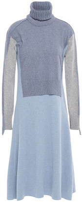 Cédric Charlier Detachable Color-block Wool-blend Turtleneck Dress