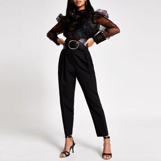 River Island Womens Petite Black printed organza blouse