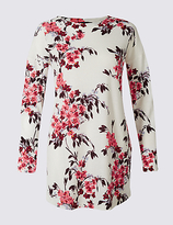 M&S Collection Floral Print Round Neck Long Sleeve Tunic