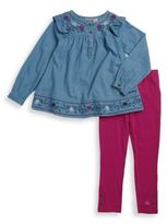 Calvin Klein Two-Pieces Cotton Denim Top & Elasticized Leggings Set