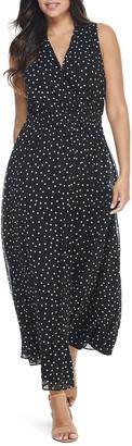 London Times Dot Print Surplice Maxi Dress