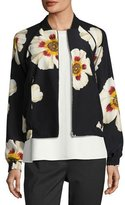 Lafayette 148 New York Irelyn Reversible Floral-Print Bomber Jacket, Black Multi, Plus Size
