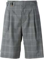 Maison Flaneur - checked belted shorts - men - Viscose/Virgin Wool - 46