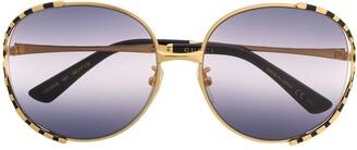 Gucci Striped Oversized-Frame Sunglasses