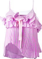 Rochas pleated ruffled cami - women - Silk/Polyamide - 44