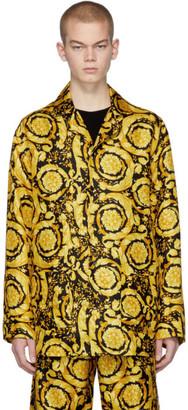 Versace Underwear Black and Yellow Silk Barocco Pajama Shirt