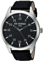 Ben Sherman Men's 'Carnaby Outdoor' Quartz Stainless Steel and Leather Casual Watch, Color:Black (Model: WB031BA)