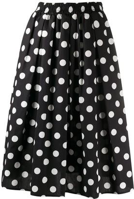 Steffen Schraut Pleated Polka Dot Print Skirt